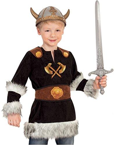 """Kinder-Kostüm \""""WIKINGER\"""" 2-tl. Oberteil mit Gürtel, an Armen und unterem Saum mit Fell versehen Gr. 104 - 128"""