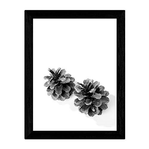 Nacnic Lámina de Dos piñas de Pino en tamaño A3, en Blanco y Negro Poster Papel 250 gr y tintas Marco