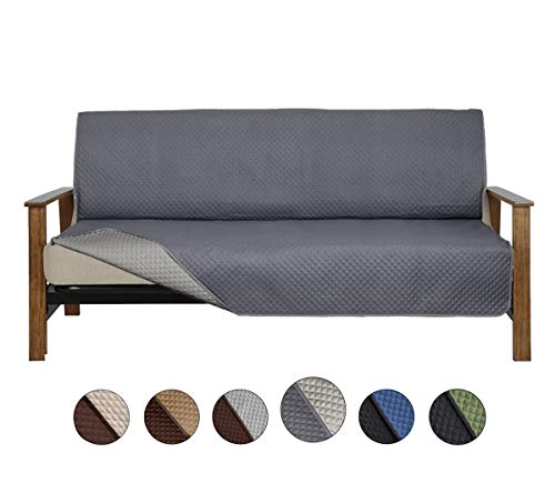 "CALA Futon Covers, Reversible Couch Covers Slipcover Furniture Slipcover Perfect for Pets and Kids,Furniture Protector Machine Washable,  (Futon:Gray,70"" x 76"")"