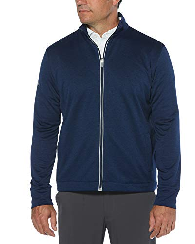 Callaway Men's Golf Full Zip Long Sleeve Waffle Knit Fleece Jacket, Blueprint Heather, X-Large