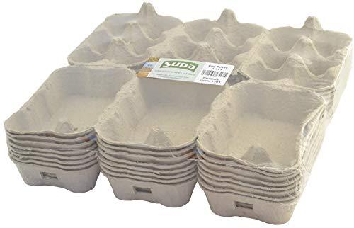 SUPA Huevos, 24 Piezas, Caja de Huevos Tradicional de Fibra | 100% reciclable y Biodegradable