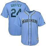 Xiaobudian Maglietta Personalizzata Personalizzata da Baseball Uniforme Seattle Mariners T-Shirt Ricamata con Nome e Numeri per Uomo Donna Gioventù