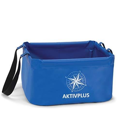 AktivPlus® Robuster Falteimer mit über 15L Kapazität | Verstärkte Ecken & lange Schleifen als faltbarer Eimer, beim Camping, Spülen, Angeln | Einsetzbar als Wasch-Schüssel & Spül-Schüssel Faltschüssel