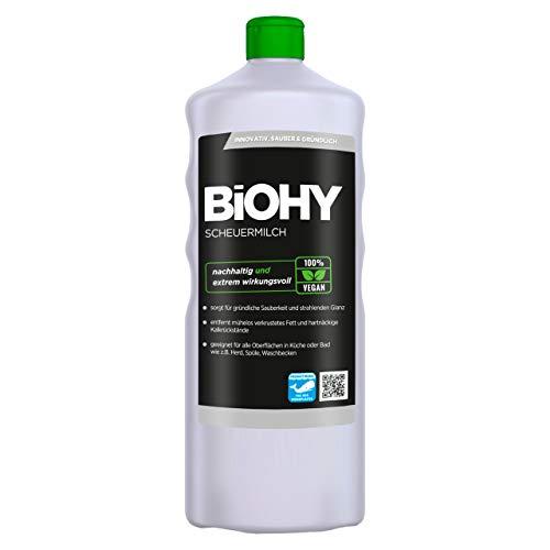 BiOHY Scheuermilch (1l Flasche) | entfernt eingebrannte Speisereste mühelos | gründliche Reinigung ohne zu kratzen | schonend zu Haut & Umwelt | für Emaille, Keramik & Edelstahl