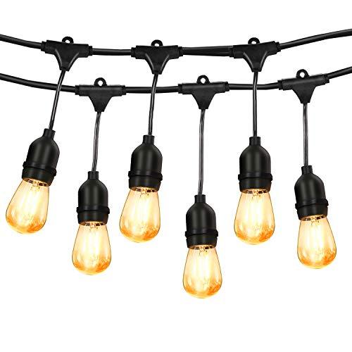 PREUP Outdoor Lights Mains Powered, 15+3 LED Bulbs Garden Lights 48ft 15 Sockets 2W Festoon Lights IP65 Waterproof String Lights Warm&White for Indoor/Outdoor/Outside