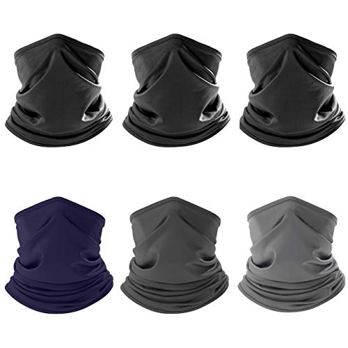 ZERDOCEAN 6 Pack Face Mask Neck Gaiter Scarf Bandanas Motorcycle Balaclava Headwear Neckwarmer Black