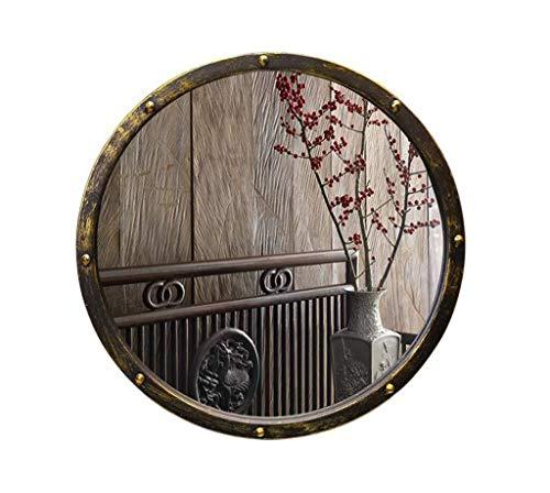 LOYOLR HOME Espejo de Lavabo Vintage de Hierro Forjado baño Antiguo Espejo de baño Redondo Antiguo Espejo Redondo de Arte Chino (Size : 50 * 50CM)
