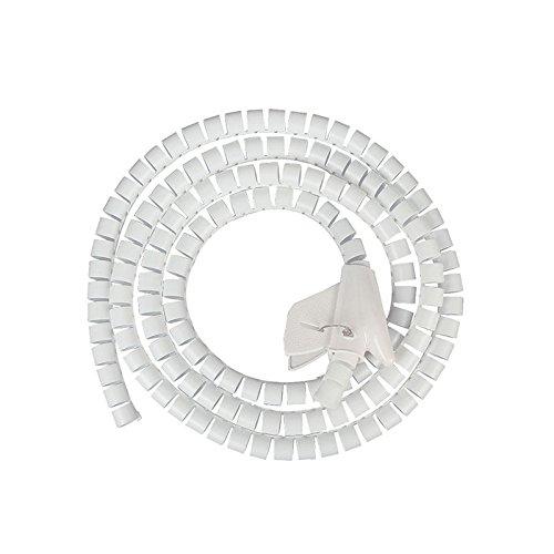 JZK 1.5 Metros organizador de cable tubo flexible en espiral evuelto con clip para PC TV DVD cable de antena estéreo agrupar cable, blanco