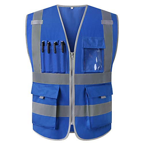 High Visibility Vest Blue Safety Vest Reflective With Pockets and Zipper For Men And Women Construction Workwear (XL, Blue)