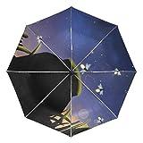 Mr.Lucien 2021191 - Paraguas de Viaje Plegable y automático, diseño de Zorro con Hojas caídas, Estilo otoño, Compacto, Apertura automática y...
