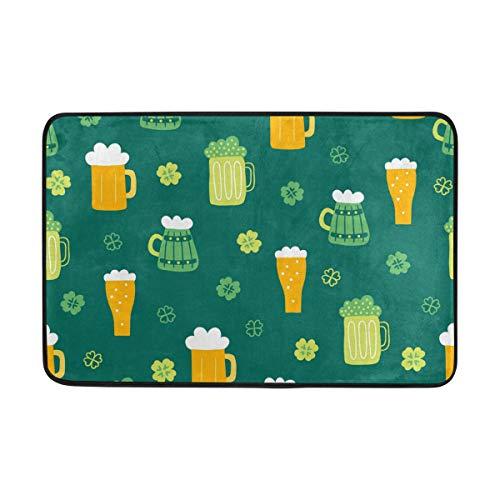 FANTAZIO deurmatten voor ingang weg buiten bier en shamrock gebied tapijt rechte tapijt Gripper voor keuken/badkamer 23.6x15.7in