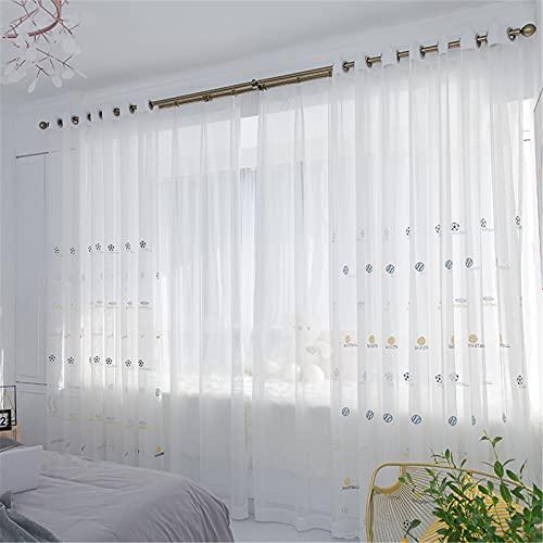 FACWAWF Cortinas Translúcidas Bordadas Modernas Y Simples, Sala De Estar Dormitorio Balcón Estudio Hotel Cortinas Semi-Opacas W150xH270cm(1pcs)