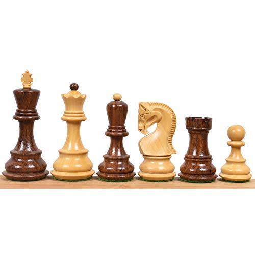 RoyalChessMall - Juego de piezas de ajedrez rusa de 3,9 pulgadas de Zagreb de 59 pies, palisandro dorado y boj