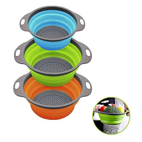 MOOLWEEL 3 Stück Faltbare Siebe Set,Robuste und BPA-Freie Silikon-Küchensiebe mit Rutschfestem Griff Seiher,Ideal zum Abtropfen von Gemüse,Obst,Nudeln usw