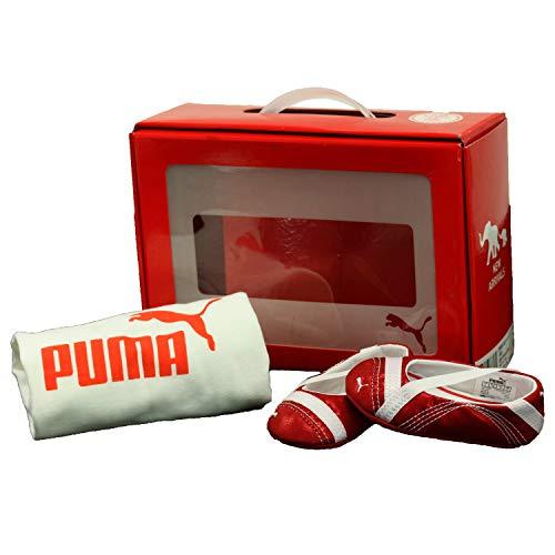 Puma . Crib Pack Arayla Shimmer Red Shoes/White T-Shirt (3 M Crib)
