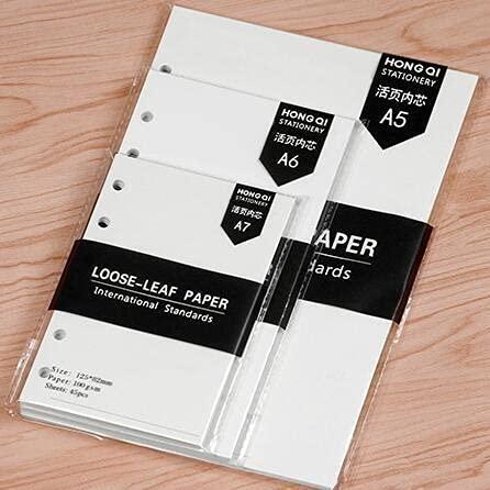 HBNNBV Diario 45 Hojas Business A5 A6 Hoja Suelta Cuaderno Recarga Índice de Carpeta Espiral Dentro Página Mensualmente semanal para Hacer la Lista de papelería de Papel Suave Forrado