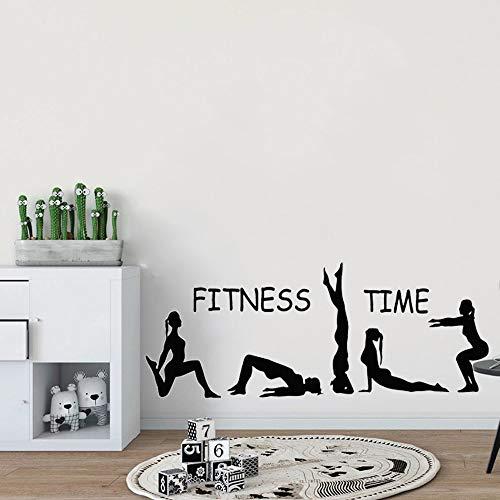 Fitness Time Gimnasia rítmica Deportes Yoga Chica Entrenamiento Acción Etiqueta de la pared Calcomanía de vinilo Dormitorio Sala de estar Sala de entrenamiento GIMNASIO Club de culturismo De