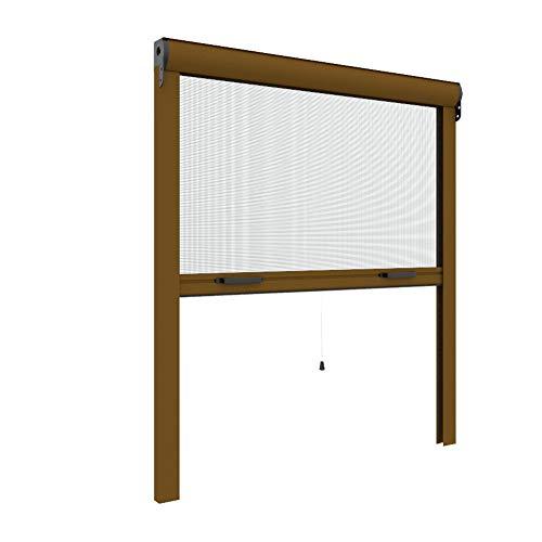 Zanzariera Verticale per finestre su Misura 42 mm cassonetto Sottile Personalizzabile a Rullo con Molla Telaio con Profilo Robusto e Resistente in Alluminio Bronzo Verniciato