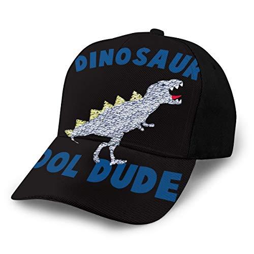 Bettiboy Cool Dude Baseballmütze mit Dinosaurier-Motiv, für Damen, Herren, verstellbar, Trucker, einfarbig, 6-Panel, Polo-Stil, Unisex, Schwarz