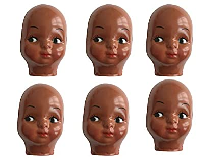 Black African American Celluloid Plastic Doll Face Mask (Pack of 6)
