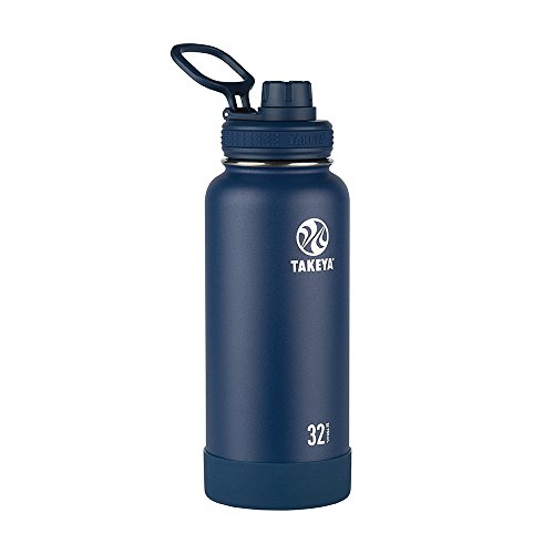 Takeya Actives Insulated Stainless Steel Water Bottle with Spout Lid, 32 oz, Midnight