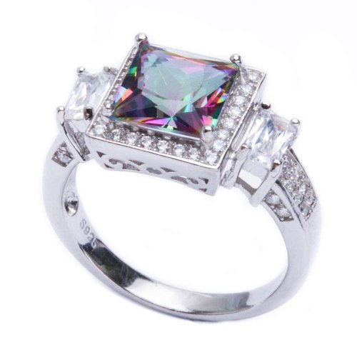 Oxford Diamond Co .925 Sterling Silver 5.50ct Princess Cut Rainbow Colored CZ & Cz Ring Size 7