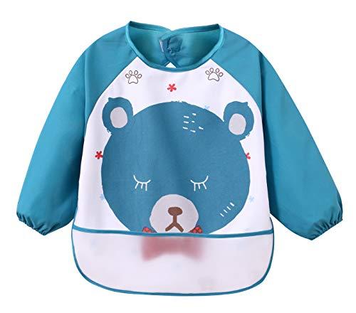 KIDS MAM&DAD - Baberos Impermeables de Bebes para Jugar Comer Escolar con Bolsa Mangas Largas Delantal Animal para Infantiles de 5 meses-3 Años