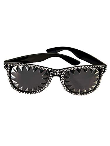 Forum Novelties X82646 Brille 80er Jahre Spike & Strass Herren Damen Schwarz