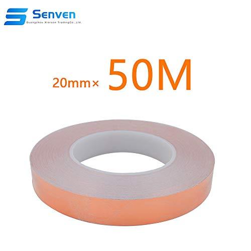 Senven Cinta Adhesiva primera calidad cobre - Conductor doble cara - (50m × 20 mm) - Blindaje EMI y RF, circuitos papel, soldadura, reparaciones eléctricas, Repelente de babosas, Manualidades.