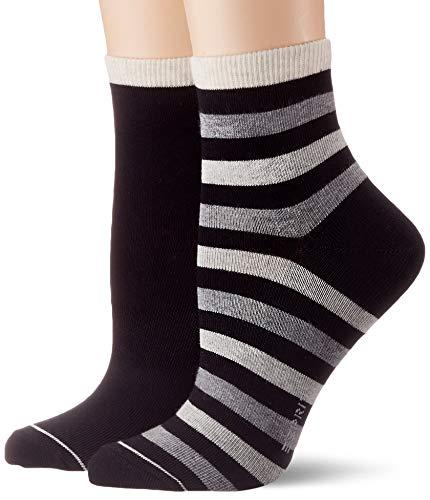 ESPRIT Damen Socken Colorful Stripe 2er Pack - Baumwollmischung, 2 Paar, Schwarz (Black 3000), Größe: 35-38