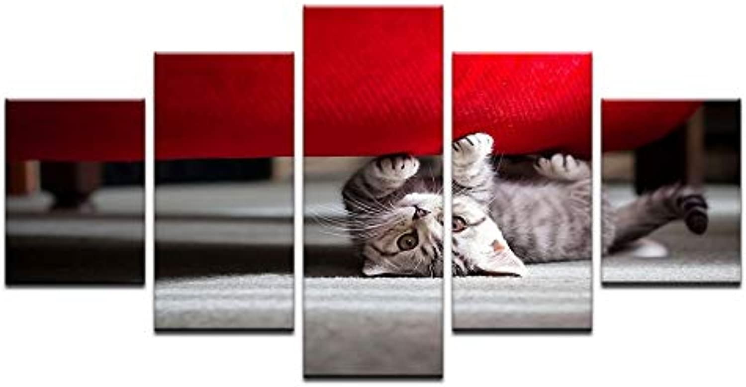 d210e6c7b544 Wall Art Pictures Home Decor for Living Room 5 Kitten Paintings ...