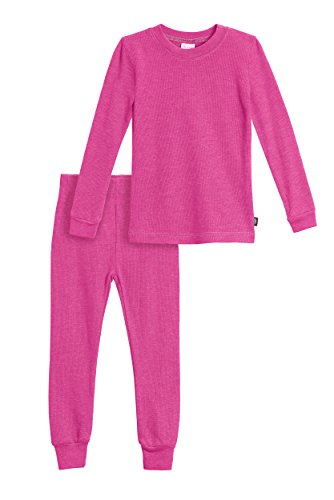 City Threads Little Girls Thermal Underwear Set Perfect for Sensitive Skin SPD Sensory Friendly Base Layer Thermal Wear Cotton Ski Clothing for Kids Comfortable Ultra Soft, Hot Pink- 4T