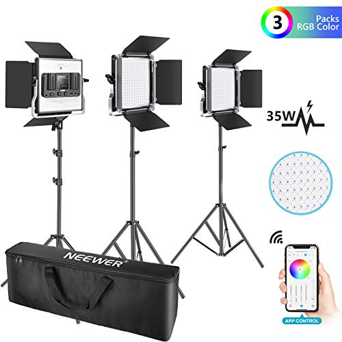 Neewer 3 Packs 530 RGB Led Light with APP Control, Photography Video Lighting Kit with Stands and Bag, 528 SMD LEDs CRI95/3200K-5600K/Brightness 0-100%/0-360 Adjustable Colors/9 Applicable Scenes