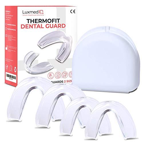 LuxmedIQ Professional Aufbissschienen Set (4 Stk, 2 Größen) inkl. Box, BPA frei, Zahnschutz beim nächtlichen Zähneknirschen, Knirscherschiene, Zahnschiene, Mouthguard
