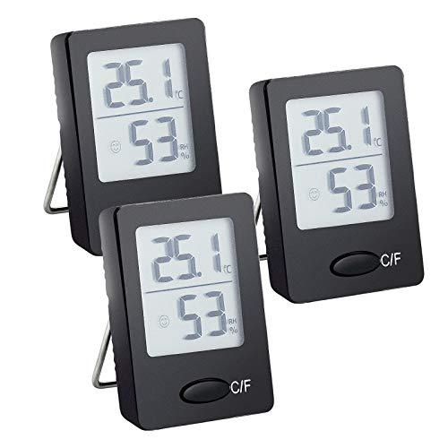 Kupink Digital Thermometer Hygrometer 3 Stück Thermo Hygrometer Indicator Temperatur und Feuchtigkeitsmesser für Innenraum Babyraum Wohnzimmer Büro