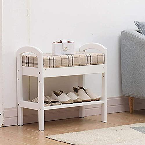 N/Z Equipo para el hogar Banco de Zapatos Banco de Zapatos de Madera Maciza Taburete de Dormitorio Almacenamiento Banco de Zapatos multifunción Zapatero (Color: A)