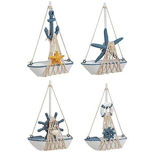 Miniature Sailboat Nautical Home Decor for Bathroom, Baby Shower, Sailor Party Decoration (5X 7 in, Set of 4)
