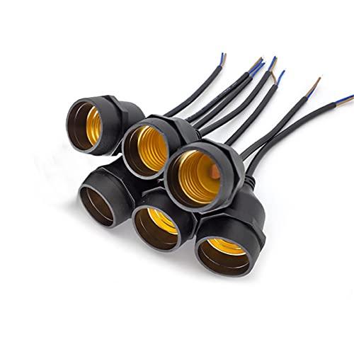 Yumeiyo - 6 adaptadores de casquillo E27, adaptador de soporte de lámpara impermeable E27 con enchufe adaptador de enchufe de cable