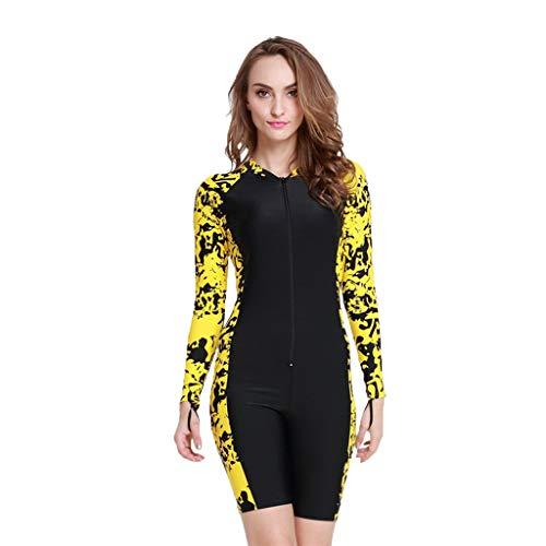 iYmitz Damen Einteiliger Surfanzug UV-Anzug Schutz Schwimmanzug Overall Watersport Schnorchelanzug Wetsuit(Gelb,L)