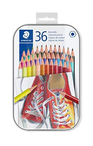 STAEDTLER Buntstifte, traditionelle Sechskantform, entsprechend Spielzeugrichtlinie EN71, Metalletui mit 36 leuchtenden Farben, 175 M36