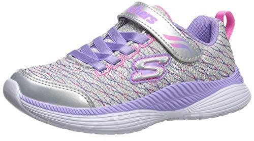 Skechers Girls' Move 'N Groove Spinner Trainers, Silver (Silver Sparkle Mesh/Lavender & Multi Trim Sllv), 10.5 (28 EU)