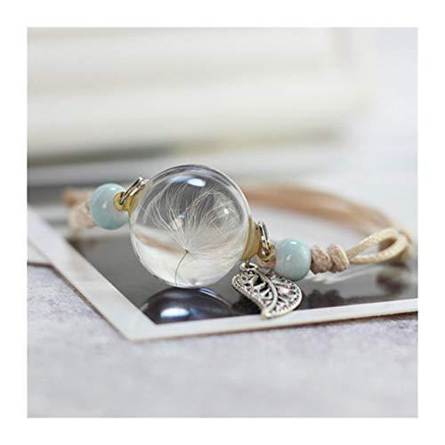 XCQ Pulsera de bola de cristal, pulsera vintage, trébol de la suerte (color de metal: 5)