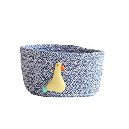JSJJAET Cesto de la Ropa Cuerda de algodón cestas de Almacenamiento con Animales bebé de la Forma Sucia de Ropa de lavandería Cesta (Color : Blue Duck)