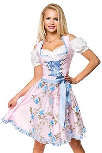 Dirndl Set Tracht Kleid Trachtenkleid Blumen Oktoberfest Blau Rosa Grün XS-3XL