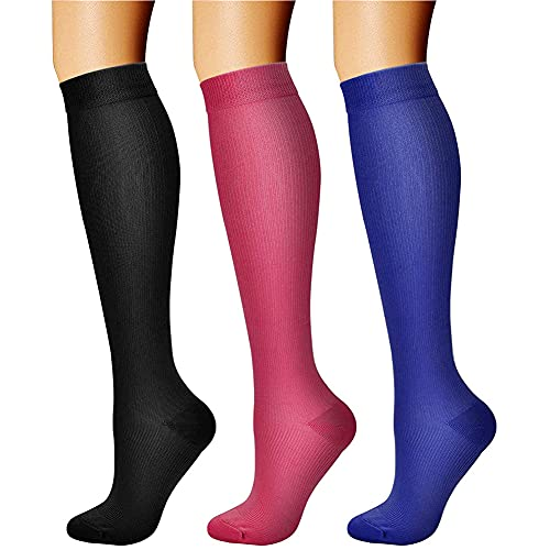 CHARMKING Compression Socks for Women & Men Circulation (3 Pairs) 15-20 mmHg is Best Athletic for Running, Flight Travel, Support, Cycling, Pregnant - Boost Performance, Durability (L/XL,Multi 06)