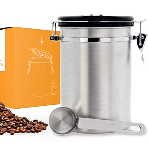 Coffee Canister (Large) Airtight Seal Set with Scoop - Stainless Steel Kitchen Storage Container with AirFresh Valve Technology (Barista Blue)