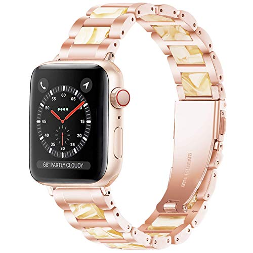 Light Apple Watch Strap 42mm 44m, Resin with Stainless Steel iWatch Band Compatible with Apple Watch Series SE 6 5 4 3 2 1(Rose-Beeswax, 42mm/44mm)