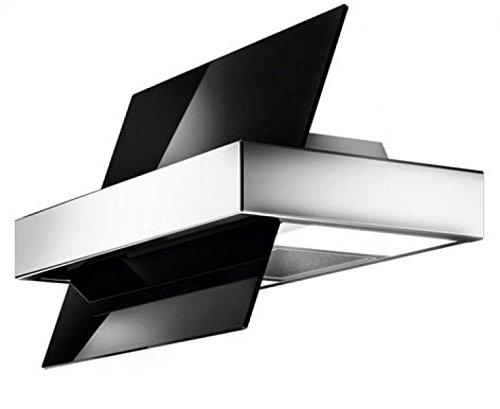 Galvamet/Touch 86/A INOX-BLACK / 86 cm/Funktion 24h Komfort * / Kopf freie Vertikale Wandhaube/Dunstabzugshaube/Schwarz Glas Inox Design/ECO LED / 100% MADE IN ITALY