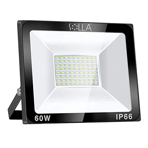 SOLLA 60W LED Flutlicht Outdoor-Sicherheitsleuchte, 340W Äquiv, 6000K Tageslichtweiß, 4800LM, Wasserdicht IP66, Außenwandleuchte, 24 Monate Garantie