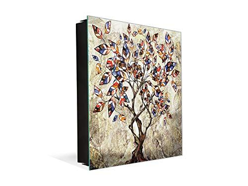 Dekorative Key Box mit magnetischer, trocken abwischbarer Glastafel K14 Weltliche Motive: Baum der Farben